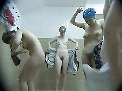 Mostly middle-aged mothers naked in the locker room