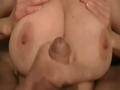 Cumshot on big tits