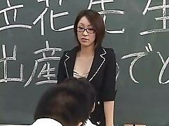 Lactating Japanese teacher spits on student's face