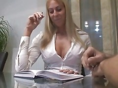 Real wife plays his horny secretary