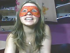 teen in mask masturbating for webcam