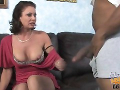 Mom gets banged by a huge cocked black in front of her son
