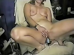 Taping my horny wife penetrating both holes