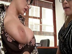 Lesbian with stokings inside pussy HOT
