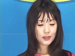 Asian Weather-girl has got facial makeup from cum