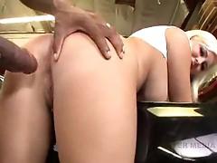 Seductive blonde slut forces a black cock deep