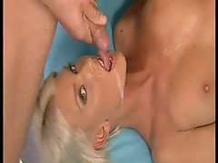Blond starlet gets double dicking and spit roast