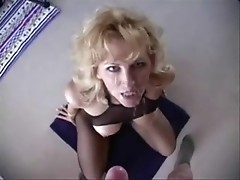MILF Racquel is mature slut with fishnet stockings