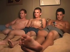 Three gays enjoy the wild masturbation and blowjob