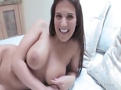 Sexy brunette with big boobs enjoys the wild sex.