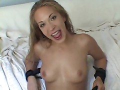 Blonde bitch gets fucked both in the ass and pussy