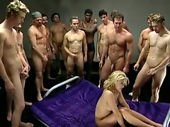 The girl loves huge gangbangs and mouth cumshots