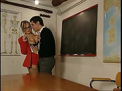 Filthy teacher having fun with two students