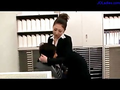 Busty Office Lady Giving Blowjob For Guy On The Couch In The Office