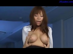 Busty Office Lady Sitting To Guy Face Getting Licked Squirting While Fingered Riding On Guy Fucked In Doggy On The Desk In The Office