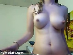 Hot babe with sexy body and lactating boobs