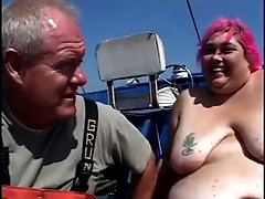 Fat lifeguard gets fucked on boat