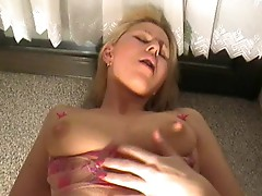 Hot blonde German girl gets anal & creampie!