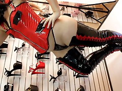 Pleaser Delight Fetish Pvc Thigh High Platform Boots.