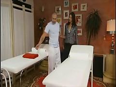 Angel Dark gets double massage.