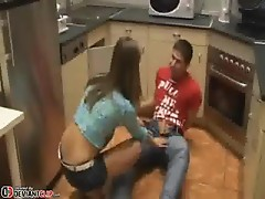 Horny Cute Teen sucking the plumber
