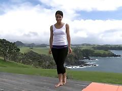 Lexa doing yoga