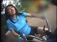 Asian And Japanese Girls Riding Dildo Bikes In Public