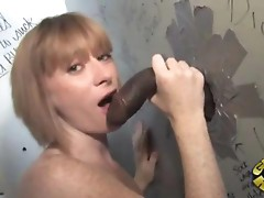 Allison Wyte sucking a huge black Gloryhole Cock