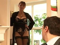Mature hairy girl in stockings and heels fucking on the table