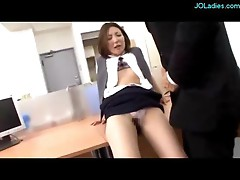 Office Lady In Pantyhose Licked Rubbing Cock With Feet Pussy Fucked Creampie On The Desk In The Office