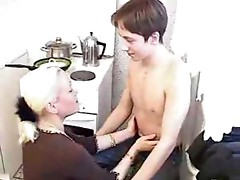 Russian mature blonde gets fucked by boy