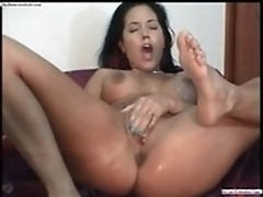 Milf uses big dildo & fingers cunt waiting hubby