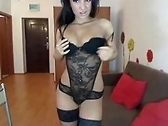 Amazing chick playing with toys for camera