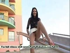 Girl poses in public
